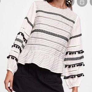 Zara Striped Pom Pom Long Sleeve Top